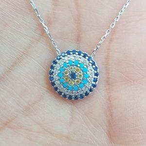 "Jewelry - 925k Sterling silver Blue Evil Eye Necklace 18"""